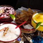 Three colorful margaritas